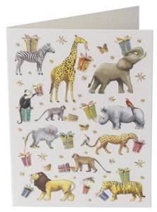 Bilde av Dobbelt kort med konvolutt, bursdag, dyr