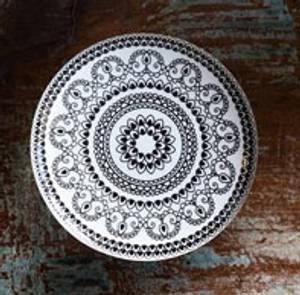 Bilde av Keramikk knott / knagg sort med mønster, 6 cm