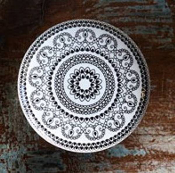 Keramikk knott / knagg sort med mønster, 6 cm