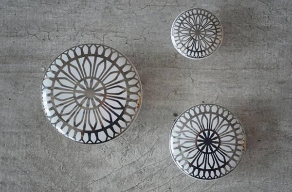 Keramikk knott / knagg sølv (velg størrelse)