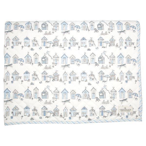GreenGate quiltet teppe til barn 120x120, Ellison pale blue
