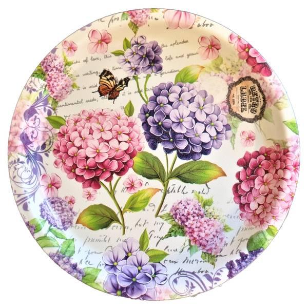 Bilde av Tallerken Hardplast Rosa/Lilla Blomster 24 cm