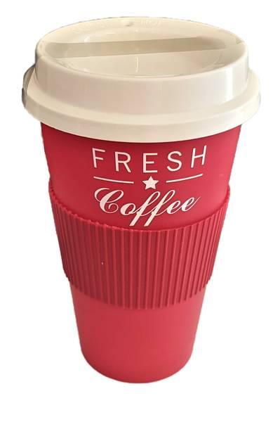 Bilde av Kaffekopp med lokk av plast 400ml Ass farger