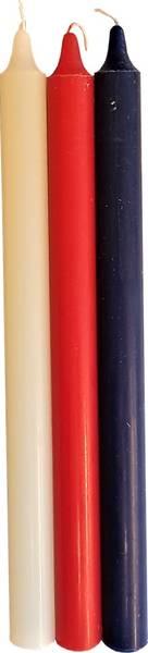 Bilde av Kronelys 17.mai rød/hvit/blå 29cm 3pk brennetid