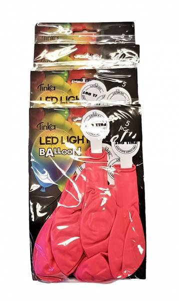 Bilde av Led-light ballong Rosa 4x5 stk