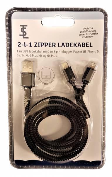 Bilde av Zipper Ladekabel 2-i-1 ass farger