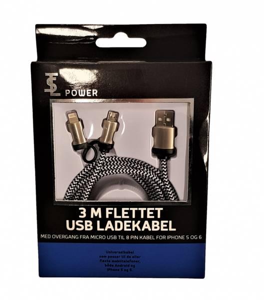 Bilde av Ladekabel 3m Flettet USB