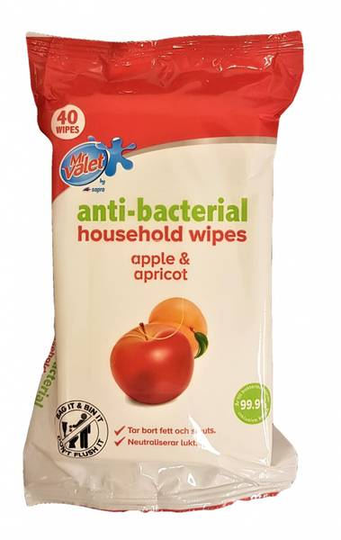 Bilde av Anti-bacterial Wipes Apple & Apricot 40stk