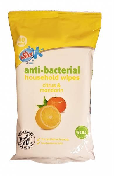 Bilde av Antibac Bacterial Wipes Sitron & Mandarin  40stk
