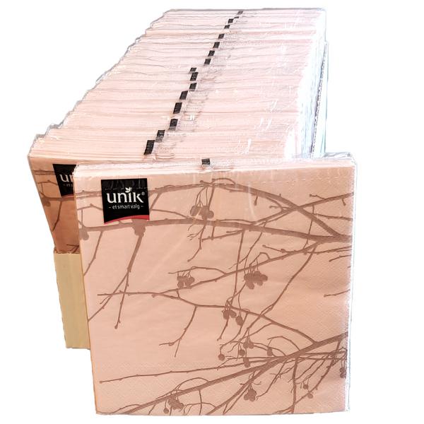 Bilde av Servietter rosa m/grå kvist 33x33cm 17x20 stk hel
