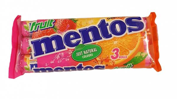 Bilde av Mentos Fruit 3 Rolls 3x38g