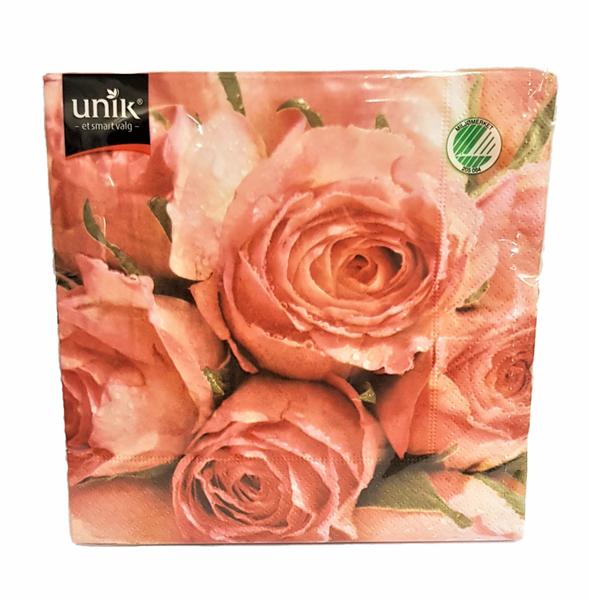 Bilde av Servietter rosa roser 33x33cm 20stk