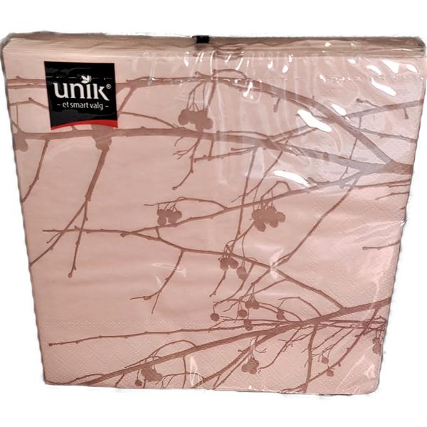 Bilde av Serviett rosa m/grå kvist 33x33cm 20stk
