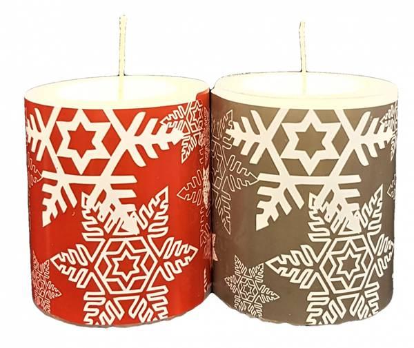 Bilde av Unik Kubbelys to stk Rød og Grå 7x8cm