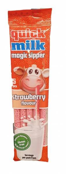 Bilde av Quick Milk Sugerør Jordbær smak 5x6g
