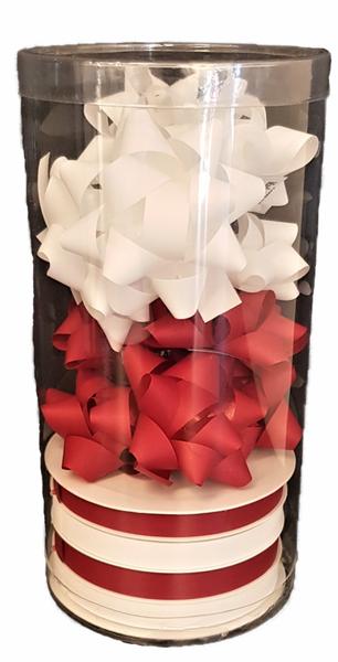 Bilde av Gavebånd 4x10m x 10mm rosetter hvit/rød