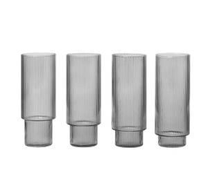 Bilde av Ripple Long Drink Glasses - set of 4 - Smoked