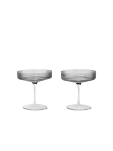 Bilde av Ripple Champagne Saucers - sett med 2 - Smoked