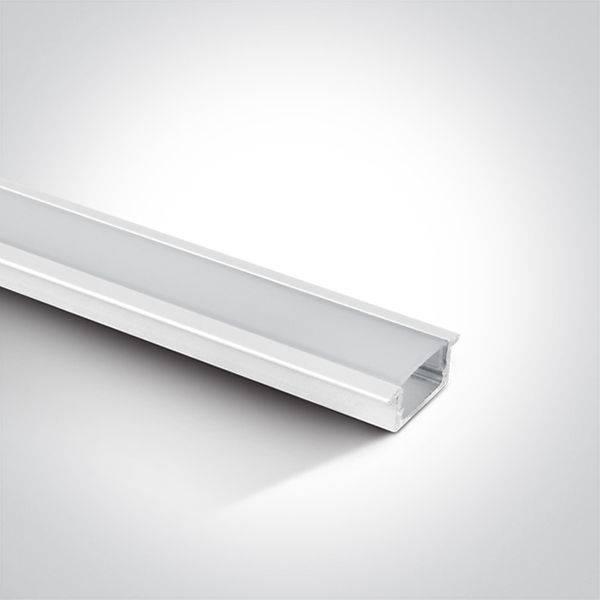 Aluprofil m/flens  Hvit blank lakkert 2mtr m opal cover