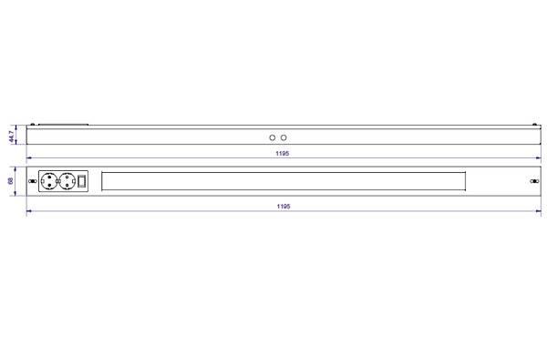 Namsen 1200 Hvit m/ 2 x kontakt 2250lm 3000K Ra>80 Faseavsnitt