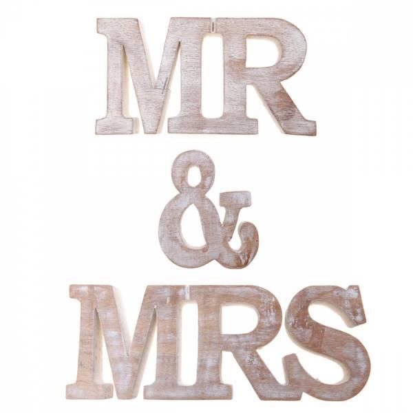 Bilde av MR & MRS bokstaver i tre
