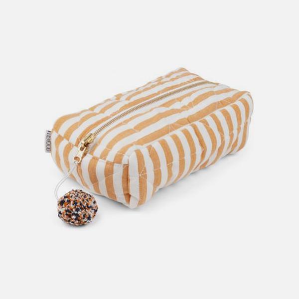 Bilde av Toalettmappe Beate Stripe Mustard Creme