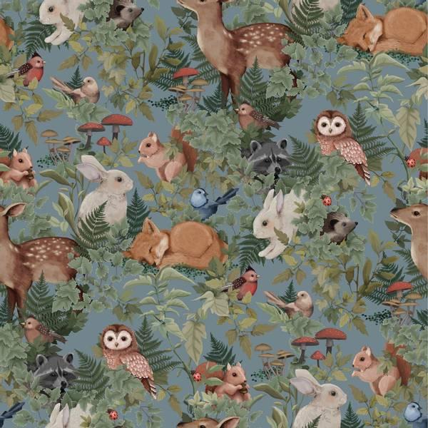Bilde av Woodlands Wallpaper Dusty Blue
