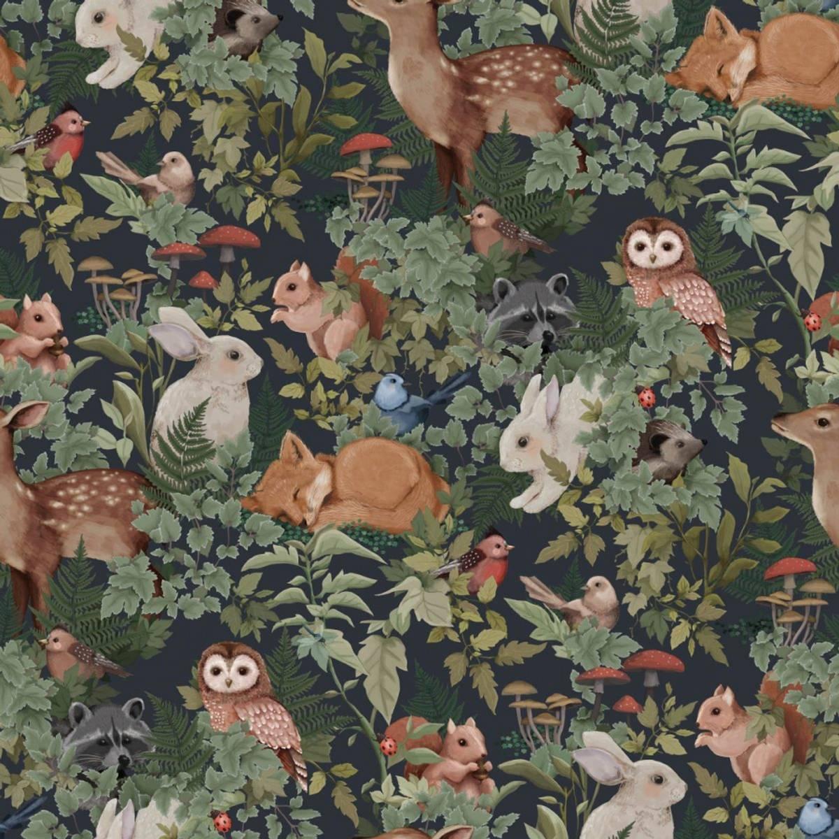 Woodlands Wallpaper Charcoal
