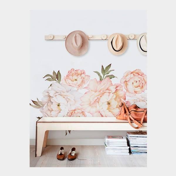 Bilde av Wall Stickers Peony Flowers Vintage Peach