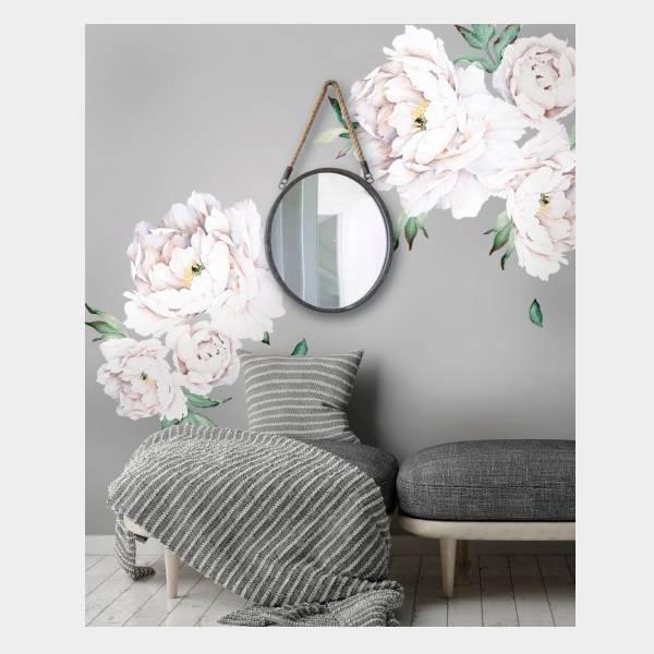 Bilde av Wall Stickers Peony Flowers White
