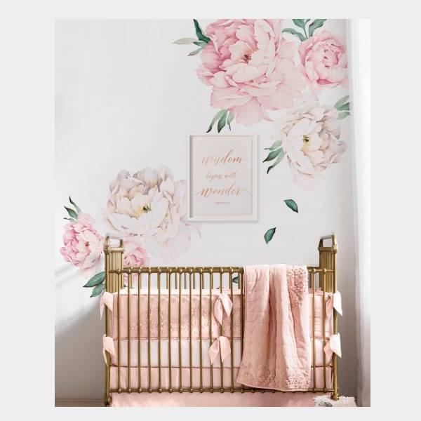 Bilde av Wall Stickers Peony Flowers Vintage Pink