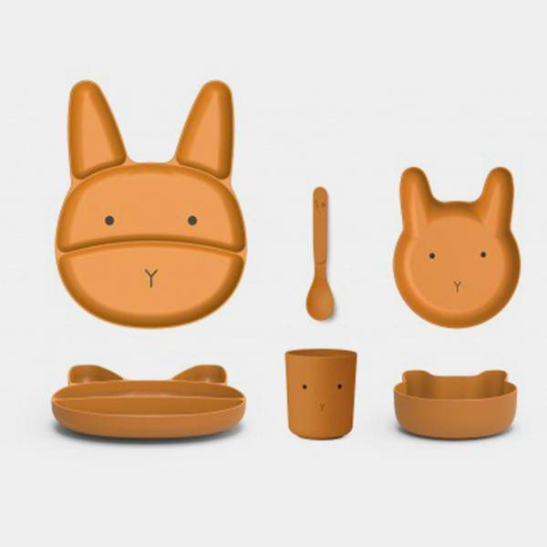 Bilde av Barneservise Jules Junior Bamboo Set Rabbit Mustard