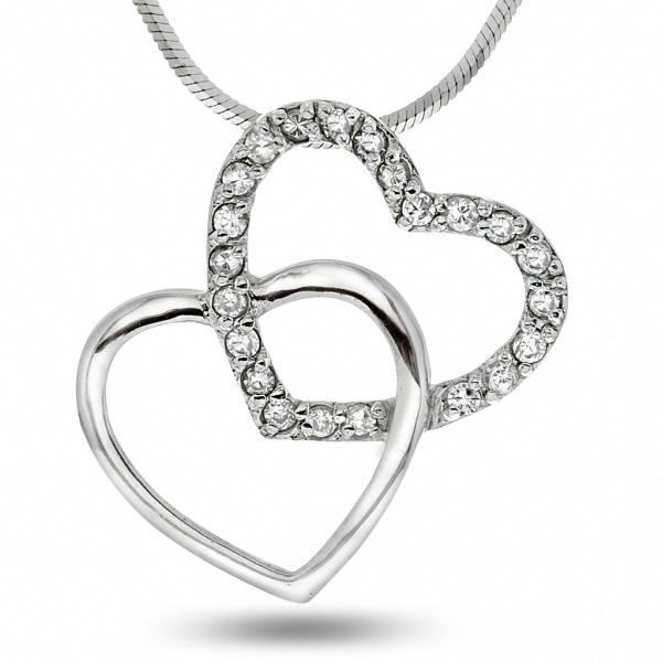 Bilde av Dobbelt hjerte smykke i sølv