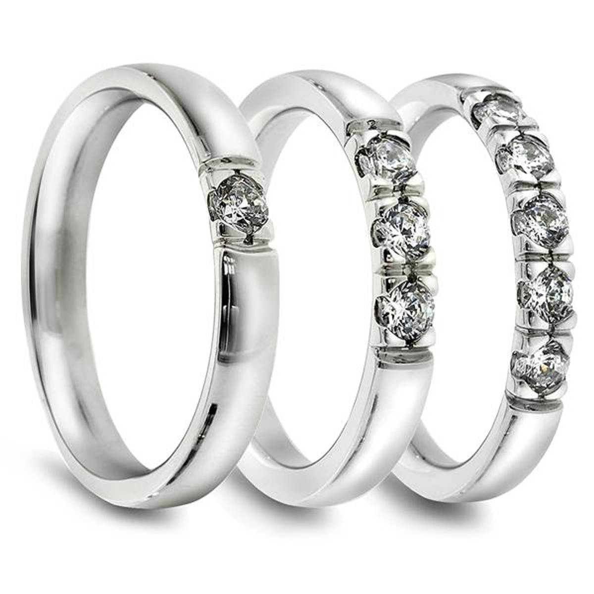Lady Alliansering. 3 stk 0,03 ct diamanter.