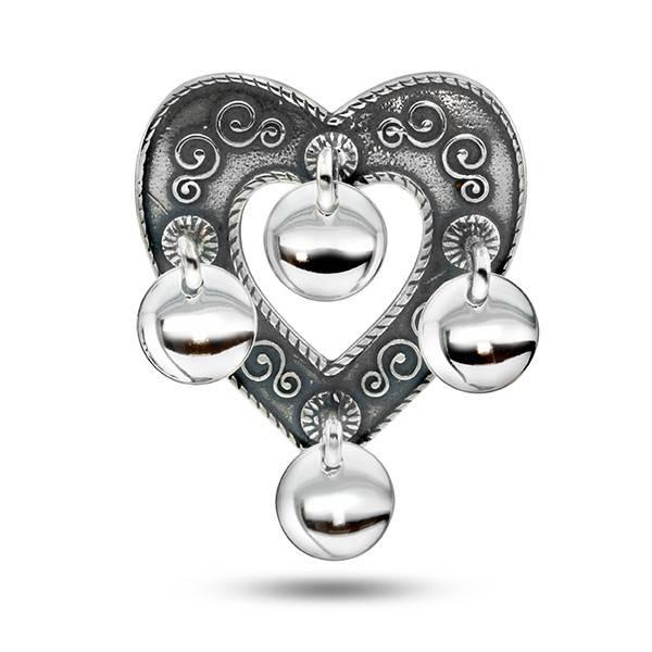 Bilde av Sølje hjerte, oksidert m/løv