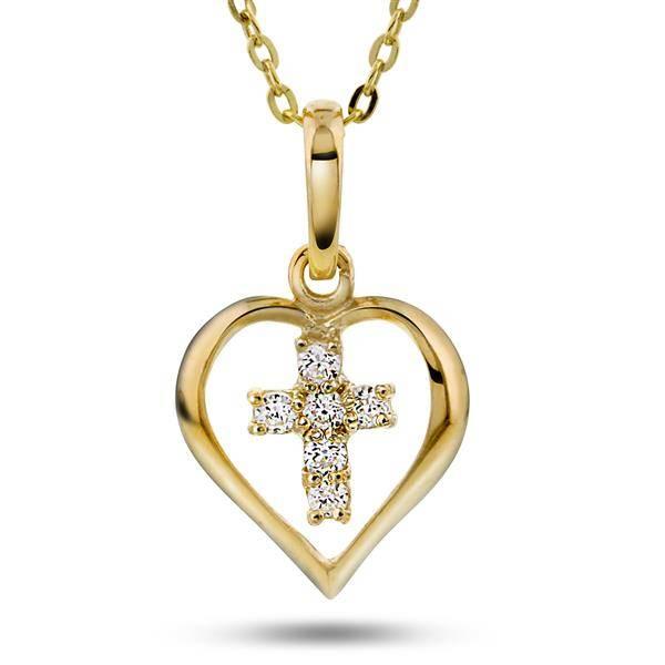 Bilde av Gull anheng med hjerte/kors