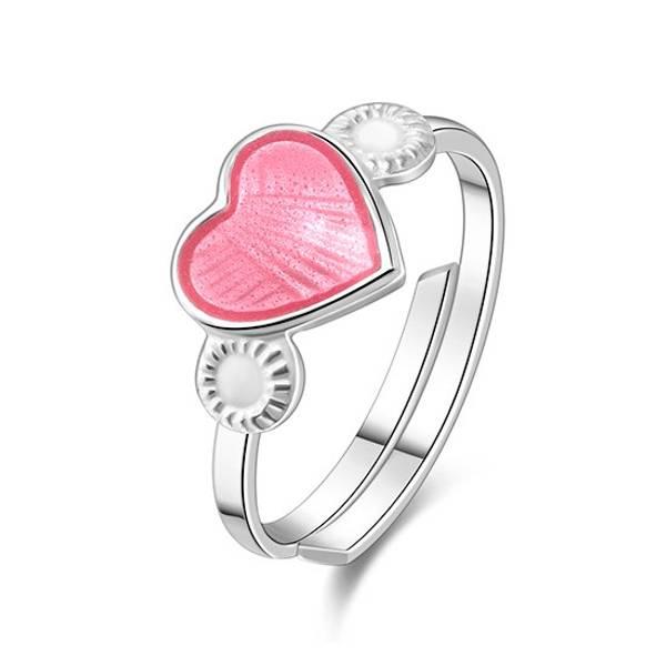 Bilde av Ring sølv - 8 mm rosa hjerte