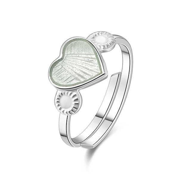 Bilde av Ring sølv - 8 mm hvit hjerte