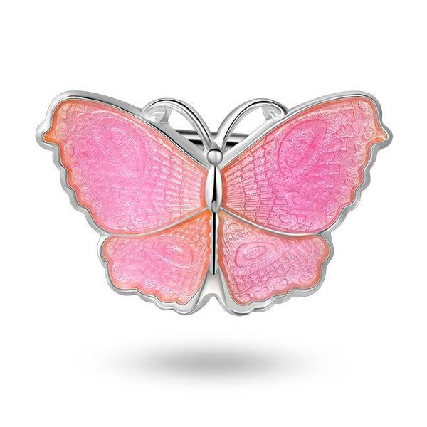 Bilde av Nål i sølv - Rosa sommerfugl