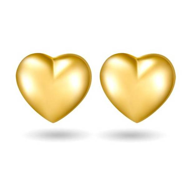 Bilde av Ørepynt i gult gull - Hjerte