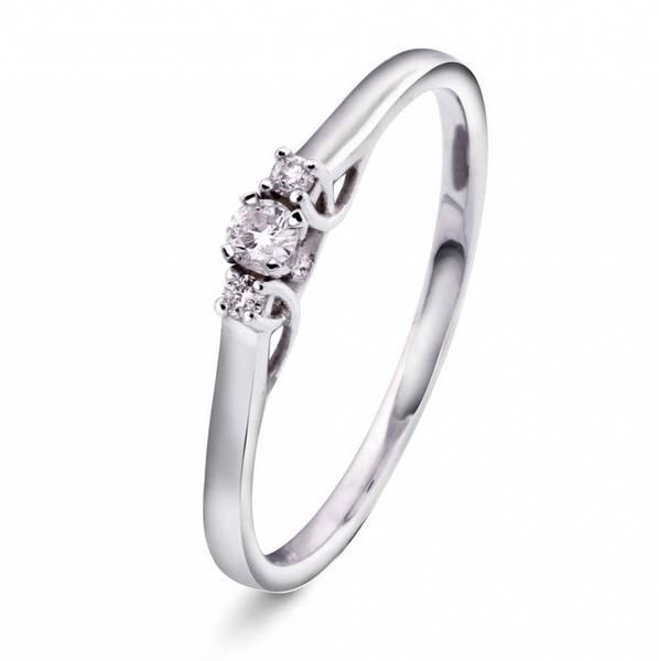 Bilde av Hvitt gull diamantring 0,08CT