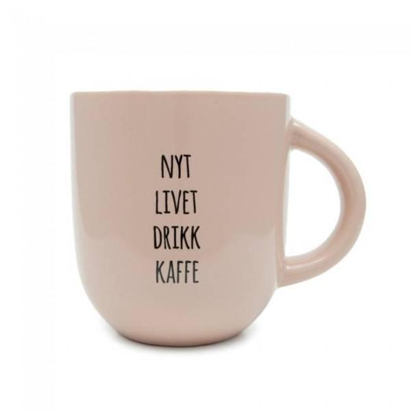 Bilde av Kopp - Nyt Livet Drikk Kaffe, Dus Aprikos