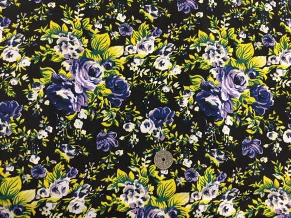 Bilde av Blomster, Blå/gul på svart bakgrunn - Vevd