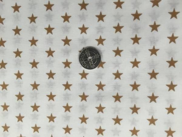 Bilde av Hvit med lysebrune stjerner - Fast Bomull