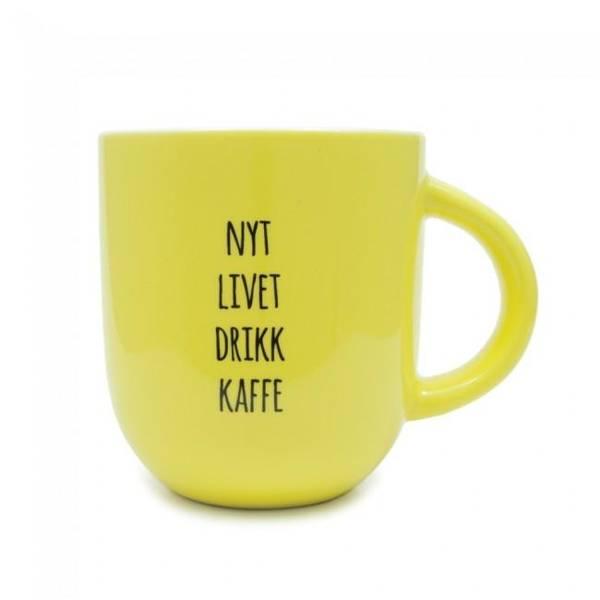 Bilde av Kopp - Nyt Livet Drikk Kaffe, Sitrongul