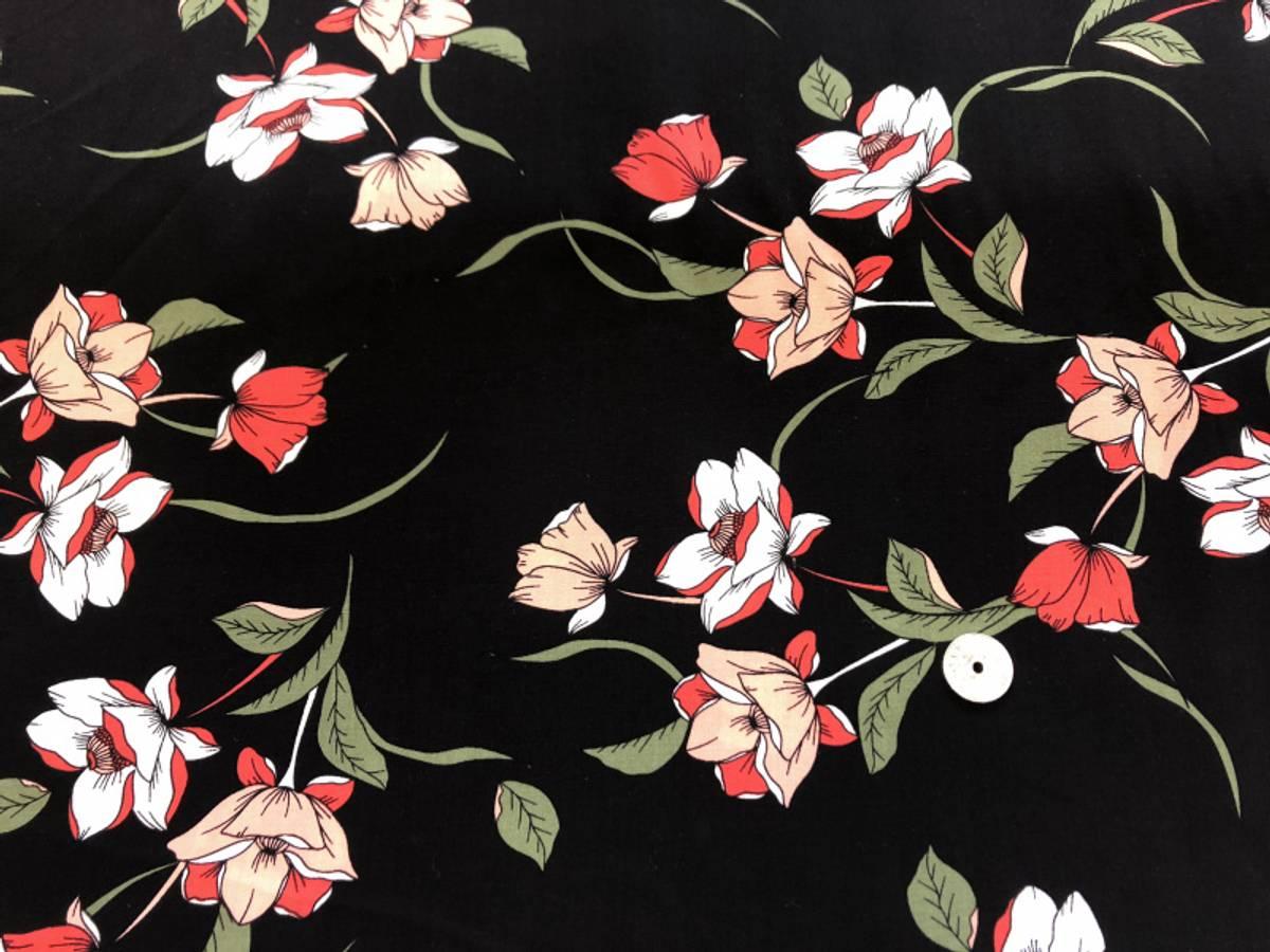 Red Flower, Black - Vevd viskose