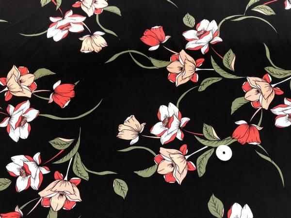 Bilde av Red Flower, Black - Vevd viskose