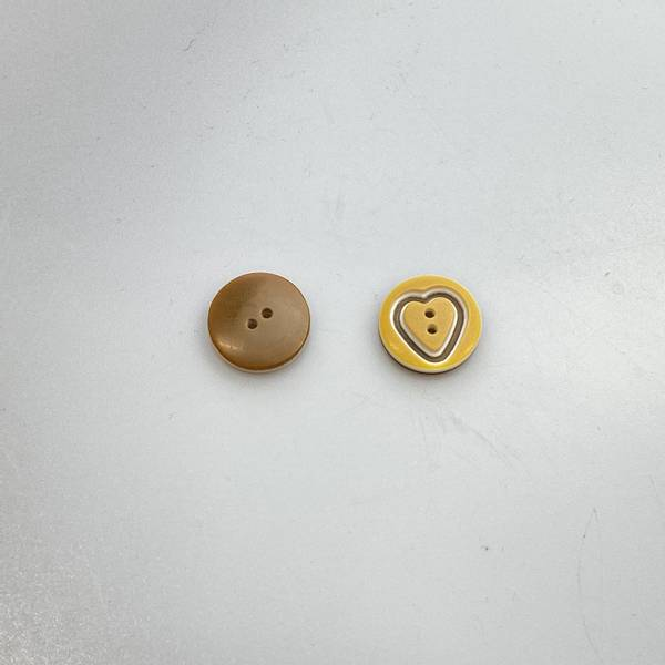 Bilde av Hjerteknapp - Oker -15 mm
