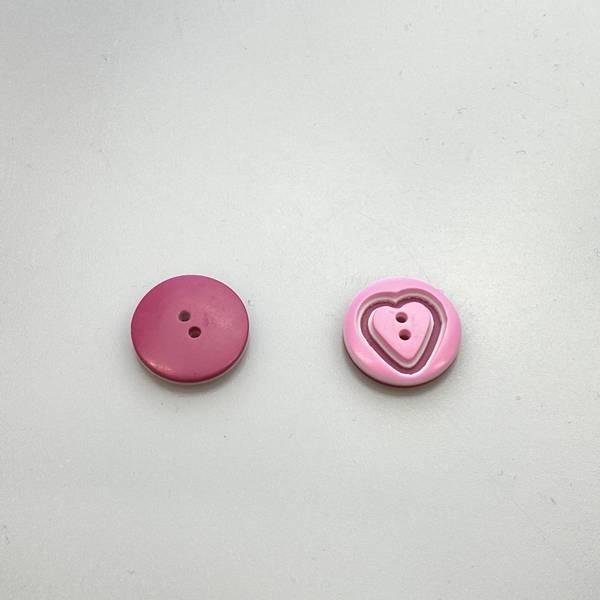 Bilde av Hjerteknapp - Rosa  -15 mm