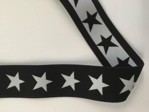 Bilde av Sort m/hvite stjerner - 4 cm bred